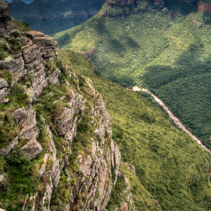 Viewpoint of the Three Rondavels in Blyde River Canyon.
